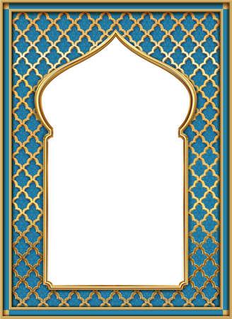 Cover postcard golden oriental vintage arch frame