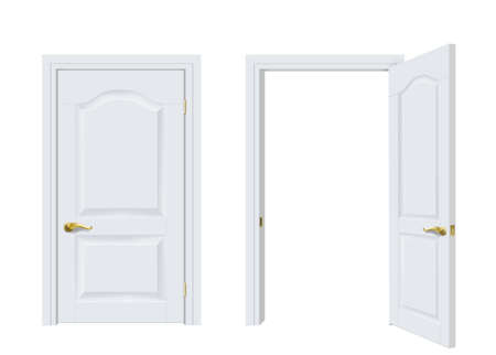 Two white classic doors open and closed