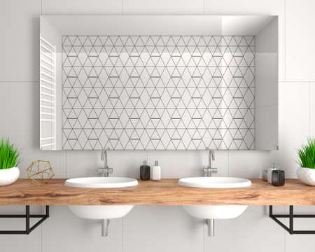 Modern bathroom interior in loft style chest of drawers