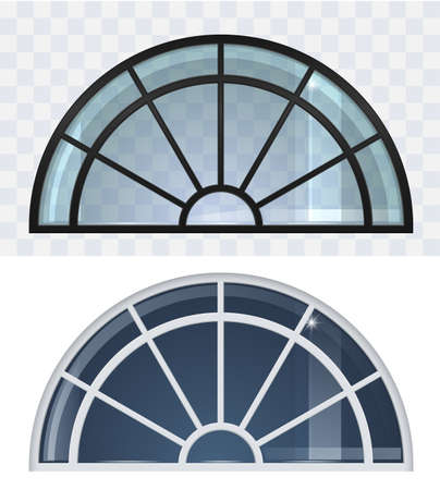 Large black and white arched roof windows set