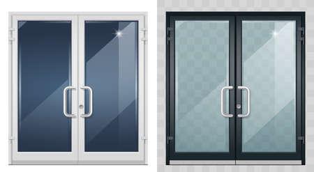 Set of modern entrance doors black white 矢量图像