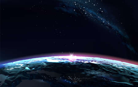 Planet earth from space horizon surface and atmosphere. 免版税图像