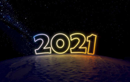 Concept number 2021 in space on a small planet