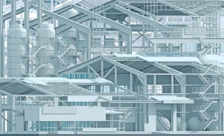 Conceptual background construction factory industry and wireframe