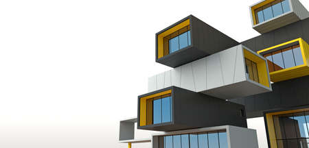 Conceptual terraced skyscraper building from block containers. 免版税图像