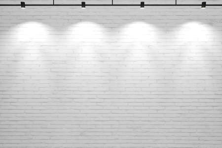 White old brick wall background with lamps