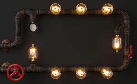 Background dark wall loft steampunk lamp from pipes 免版税图像