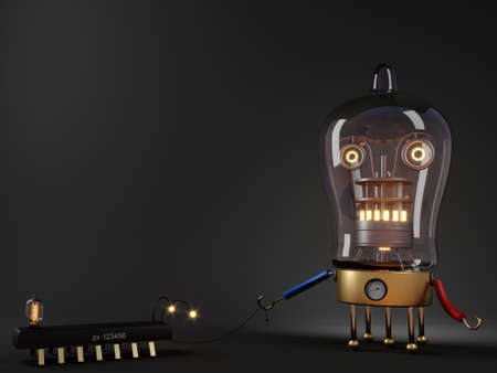 Concept render tube robot with a pet
