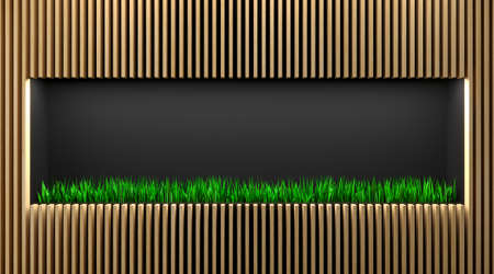 3d illustration. Shop shelf or showcase with grass. Eco style minimalism. Front reception background