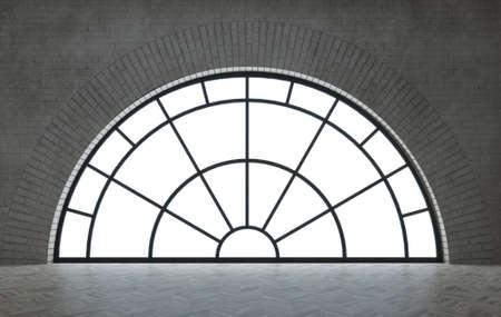 Loft style interior with black arch windows