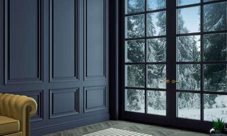 Classic wall of dark wood panels interior