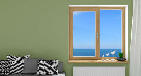 3d illustration. Modern wooden window in the interior Фото со стока