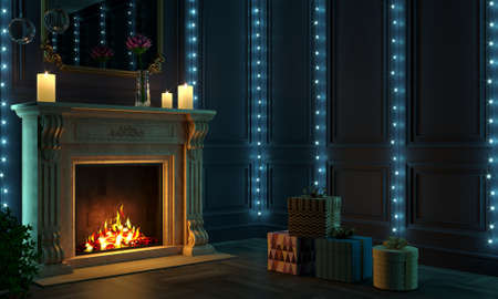 Classic Christmas fireplace in the night room