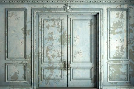 Classic wall of old stucco double classic door and blue paint