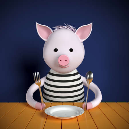 Cartoon 3d pig sitting at the table