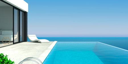 Sea modern villa with pool and sunbeds Standard-Bild