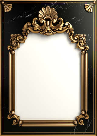 Classic golden frame baroque style cover postcard