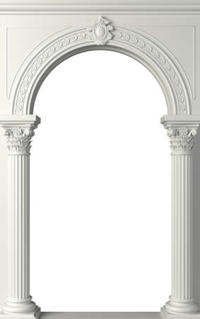 Classic antique arch portal with columns in room