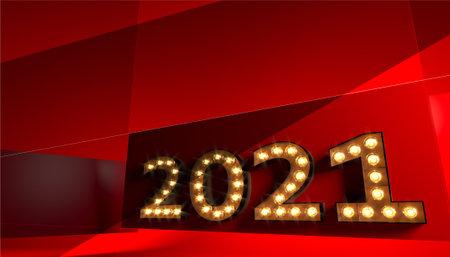 Golden number 2021 close up red background postcard