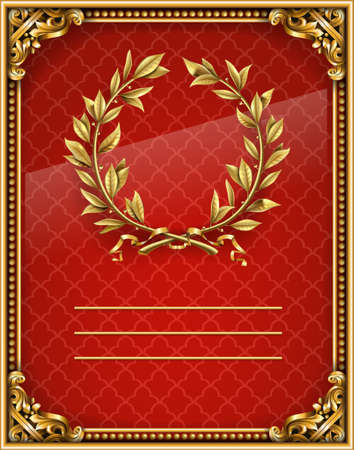 Blank or label gold baroque red background