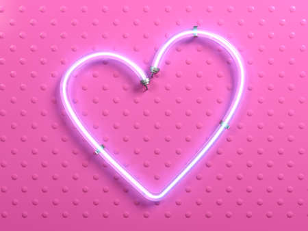 3d illustration. Banner pop art heart pink neon. Plate light