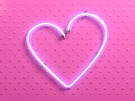 3d illustration. Banner pop art heart pink neon. Plate light