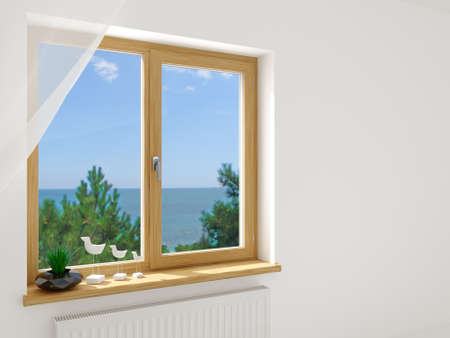 Modern double wooden window in the interior