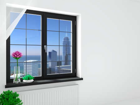 Modern double black window in the interior