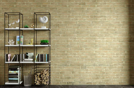 Loft interior background old white brick wall Reklamní fotografie