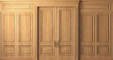 Classic wall vintage oak wood panels doors