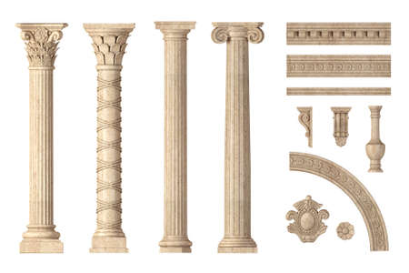 Classic antique marble columns set