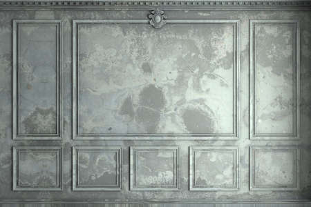 Classic wall of old stucco panels paint