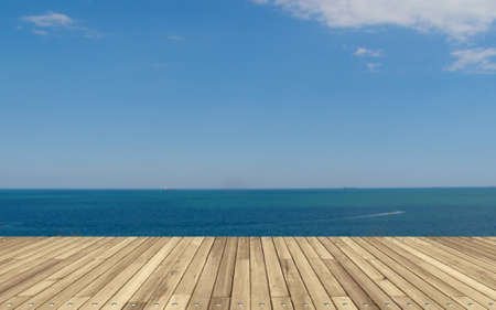 3d illustration. Deck plank background with sea. Embankment or ship deck. Reklamní fotografie