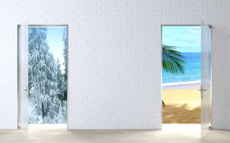 3d illustration. Two doors concept winter and summer. Travel agency