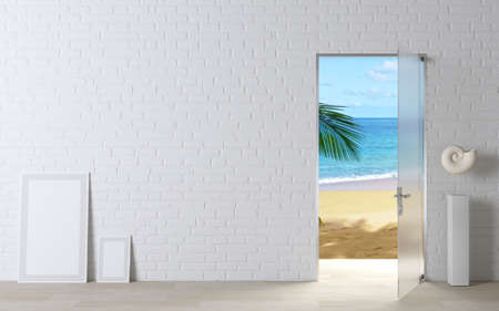 3d illustration. The door into sea and summer. Open door concept to the sea. Tropical island. Travel agency. Фото со стока