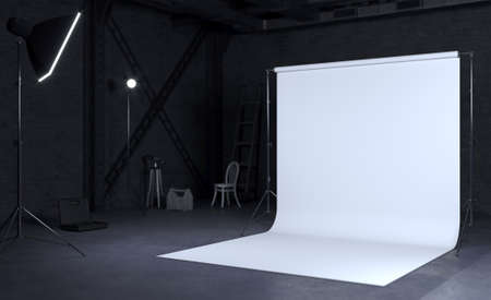 3D illustration. Photo studio room with white background, Industrial construction. Equipment for shooting. Lighting. Plant or loft