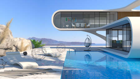 3d illustration. Concept of a futuristic modern seafront villa with a swimming pool. Minimalism style, constructivism