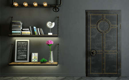 3d illustration. Modern interior in loft style background old wall. Furniture and shelves. Bookcase. Metal door Фото со стока