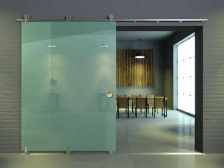 3d illustration. Modern sliding glass door in the office. Loft style interior
