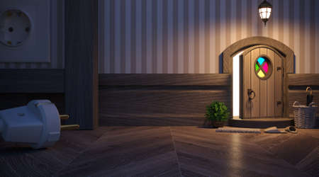 3d illustration. The porch of the fairy house of a mouse or a gnome, an elf. The entrance is in the baseboard. A small children's house - a night lamp. Reklamní fotografie