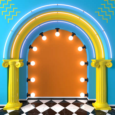 3d illustration. Bright arch podium memphis pop art style. Karaoke scene Фото со стока