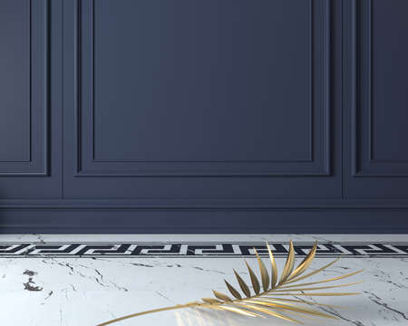 3d illustration. Classic wall of dark wood panels. Joinery in the interior. Background. Golden palm branch. Marble floor.