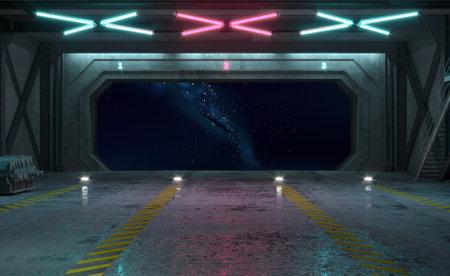 Spaceship gateway station in orbit