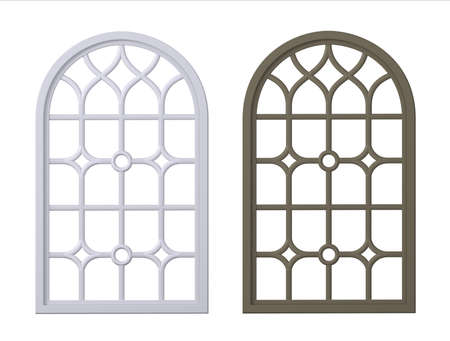Gothic classic arch window of wood set Archivio Fotografico