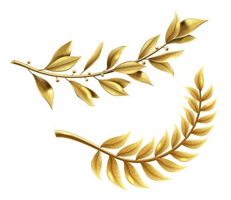 Golden laurel branch part of winner wreath
