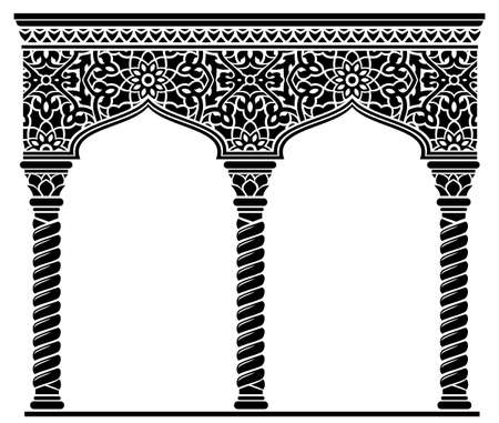 Silhouette of the arched eastern facade capitals