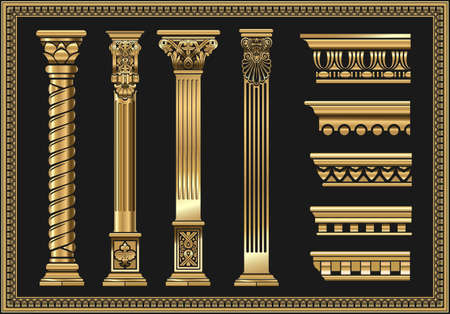 Set of silhouettes classic vintage golden capitals Vettoriali