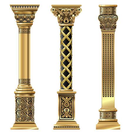 Set of golden decorative columns in oriental style