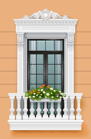 Classic balcony on the facade with a door