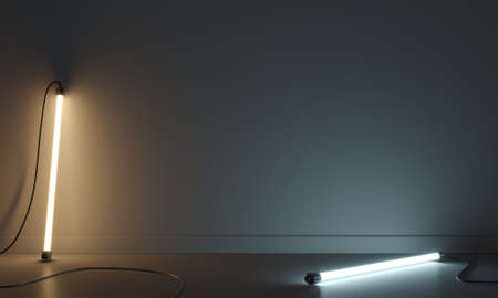 Concept abstraction wall lamps cold and warm